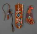 American Indian Art:Beadwork and Quillwork, Three Plains Beaded Hide Items... (Total: 3 )