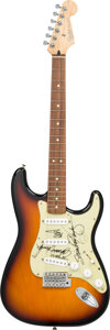 Musical Instruments:Electric Guitars, Stevie Ray Vaughan/Eric Clapton/Jimmie Vaughan/Robert Cray Signed Pickguard On Fender Stratocaster Serial #MN8298571....