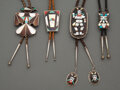 American Indian Art:Jewelry and Silverwork, Four Zuni Bolo Ties... (Total: 4 )