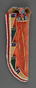American Indian Art:Pipes, Tools, and Weapons, A Crow Painted Knife Sheath and Knife c. 1890