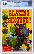 Golden Age (1938-1955):Western, Blazing Sixguns #1 (Avon, 1952) CGC VF/NM 9.0 Off-white to white pages....