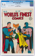Golden Age (1938-1955):Superhero, World's Finest Comics #22 (DC, 1946) CGC NM+ 9.6 Off-white to white pages....