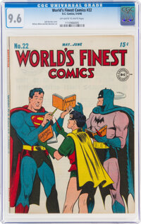 World's Finest Comics #22 (DC, 1946) CGC NM+ 9.6 Off-white to white pages
