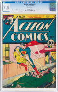 Golden Age (1938-1955):Superhero, Action Comics #29 (DC, 1940) CGC VF- 7.5 Off-white pages....