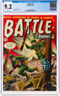 Golden Age (1938-1955):War, Battle #9 (Marvel, 1952) CGC NM- 9.2 Off-white pages....