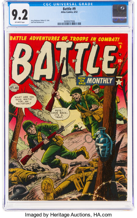 Battle #9 (Marvel, 1952) CGC NM- 9.2 Off-white pages....