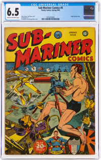 Sub-Mariner Comics #5 (Timely, 1942) CGC FN+ 6.5 Cream to off-white pages