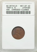 Lincoln Cents, 1909-S 1C VDB -- Cleaned, Corroded -- ANACS. AU Details, Net XF40. Mintage 484,000....