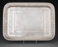 Silver & Vertu, A Persian Engraved and Repoussé Silver Tray, 20th century. Marks: 90, (city mark). 12-3/4 x 17 inches (32.4 x 43.2 cm). ...
