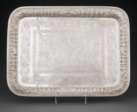 A Persian Engraved and Repoussé Silver Tray, 20th century Marks: 90, (city mark) 12-3/4 x 17 inches (32.4 x 43.2...