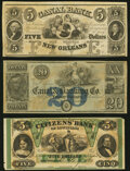 Obsoletes By State:Louisiana, New Orleans, LA Remainders.. Canal Bank $5 18__ Choice CU;. Canal & Banking Co. $20 18__ Choice AU;. Citiz... (Total: 3 notes)
