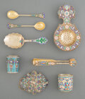 Silver & Vertu, A Group of Eight Russian Cloisonné Enameled Partial Gilt Silver Articles, late 19th-early 20th century. Marks: (various). 5-... (Total: 8 )