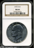 Eisenhower Dollars: , 1972-D $1 MS66 NGC. Well struck and lustrous, with deep ...