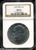 Eisenhower Dollars: , 1976 $1 Type Two MS67 NGC. Sharply struck and fully ...