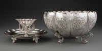 A Sanborns Silver Footed Bowl and Two-Tiered Serving Stand, Mexico City, 20th century Marks: (owl), SANBORNS, M