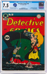 Detective Comics #58 (DC, 1941) CGC VF- 7.5 Cream to off-white pages