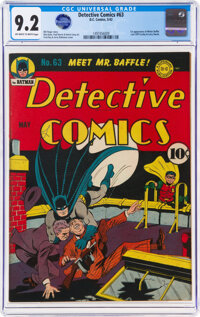 Detective Comics #63 (DC, 1942) CGC NM- 9.2 Off-white to white pages