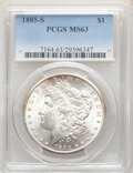 Morgan Dollars, 1885-S $1 MS63 PCGS. PCGS Population: (3559/3457). NGC Census: (1780/1657). CDN: $350 Whsle. Bid for NGC/PCGS MS63. Mintage...