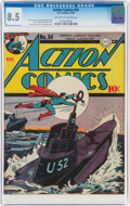 Golden Age (1938-1955):Superhero, Action Comics #54 (DC, 1942) CGC VF+ 8.5 Off-white to white pages....
