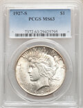 Peace Dollars, 1927-S $1 MS63 PCGS. PCGS Population: (2158/1671). NGC Census: (1100/1113). CDN: $415 Whsle. Bid for NGC/PCGS MS63. Mintage...