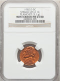 Errors, 1982-D 5C Jefferson Nickel -- Struck on a 1C Planchet -- MS64 Red and Brown NGC. (3.1 grams). . From The Don Bonser...