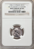 Errors, 1956 1C Lincoln Cent -- Struck on a 10C Planchet -- AU58 NGC. (2.4 grams). . From The Don Bonser Error Coin Collect...
