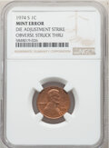 Errors, 1974-S 1C Lincoln Cent -- Die Adjustment Strike, Obverse Struck Thru -- NGC.. From The Don Bonser Error Coin Collection...