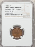 Errors, 1956 1C Lincoln Cent -- Obverse Struck Thru Capped Die -- MS64 Brown NGC. . From The Don Bonser Error Coin Collecti...
