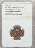 Errors, 196X 1C Lincoln Cent -- Broadstruck on Straight Clip Planchet -- MS63 Brown NGC. . From The Don Bonser Error Coin C...