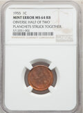 Errors, 1955 1C Lincoln Cent -- Obverse Half of Two Planchets Struck Together -- MS64 Red and Brown NGC. . From The Don Bon...
