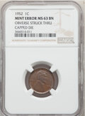 Errors, 1952 1C Lincoln Cent -- Obverse Struck Thru Capped Die -- MS63 Brown NGC. . From The Don Bonser Error Coin Collecti...