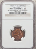 Errors, 1992-P 5C Jefferson Nickel -- Overstruck on a 1992 1C -- MS63 Red and Brown NGC. Ex: New England Collection. Sharply struck...