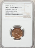 Errors, (1974-S) 1C Lincoln Cent -- Obverse Struck Thru Capped Die -- MS63 Red and Brown NGC. . From The Don Bonser Error C...