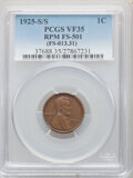 Errors, 1925-S/S 1C Repunched Mintmark, FS-501 VF35 PCGS. (FS-013.31). PCGS Population: (4/49). VF35. Mintage 26...