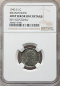Errors, 1943-S 1C Lincoln Cent -- Broadstruck, Reverse Scratched -- NGC Details. Unc. . From The Don Bonser Error Coin Collecti...