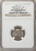 Errors, 1969 1C Lincoln Cent -- Struck on a 10C Blank -- MS64 NGC. (2.3 grams). . From The Don Bonser Error Coin Collection...
