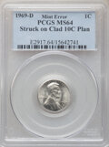 Errors, 1969-D 1C Lincoln Cent -- Struck on Clad 10C Planchet -- MS64 PCGS. . From The Don Bonser Error Coin Collection Par...