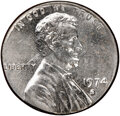 Errors, 1974-S 1C Lincoln Cent -- Struck on 10C Planchet -- MS63 NGC. (2.3 grams). . From The Don Bonser Error Coin Collect...