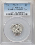 Errors, 1966 1C Lincoln Cent -- Struck on Clad 10C Planchet -- MS62 Brown PCGS. . From The Don Bonser Error Coin Collection...