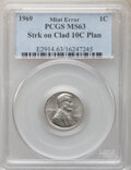 Errors, 1969 1C Lincoln Cent -- Struck on Clad 10C Planchet -- MS63 PCGS. . From The Don Bonser Error Coin Collection Part ...