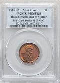 Errors, 1950-D 1C Lincoln Cent -- Broadstruck Out of Collar, Double Struck, Second Strike 98% Off Center -- MS65 Red and Brown PCGS....