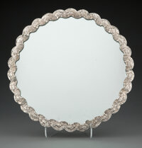 A Turkish Silver Repoussé Mirror, late 19th-early 20th century Marks: (tughra mark) 11-1/2 inches (29.2 cm) 46.7...