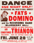 """Music Memorabilia:Posters, Fats Domino 1957 """"Blueberry Hill"""" Chicago Jumbo Concert Poster...."""