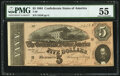Confederate Notes:1864 Issues, T69 $5 1864 PF-10 Cr. 564 PMG About Uncirculated 55.