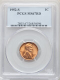 Lincoln Cents, 1952-S 1C MS67 Red PCGS. PCGS Population: (236/0). NGC Census: (475/0). CDN: $115 Whsle. Bid for NGC/PCGS MS67. Mintage 137...
