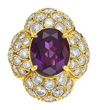 Amethyst, Diamond, Gold Ring