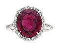 Estate Jewelry:Rings, Rhodolite Garnet, Diamond, White Gold Ring Th...
