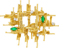Diamond, Emerald, Gold Brooch, Kutchinsky