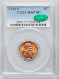 Lincoln Cents, 1953-S 1C MS67 Red PCGS. CAC. PCGS Population: (233/0). NGC Census: (419/1). CDN: $140 Whsle. Bid for NGC/PCGS MS67. Mintag...