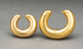 Pre-Columbian:Metal/Gold, Two Colombian Solid Gold Ear or Nose Rings... (Total: 2 )